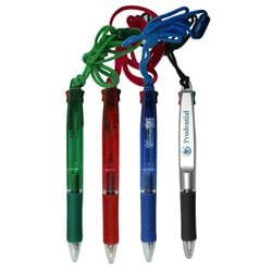 2 Writing Color Ballpoint Pen with Lanyard