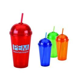 16 oz Double wall tumbler with color straw.
