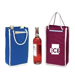 Double bottles canvas wine tote