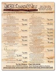 Delivery Laminated Menu Card - 8.5x11