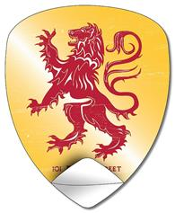 Removable Badge/Crest/Shield Shape Sticker / Decal - Vinyl UV Coated - 4x4.9