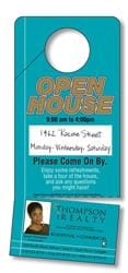 Door Hanger - 3.5x8 Laminated with Slit and Detachable Business Card - 14 pt.