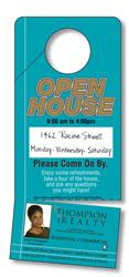 Door Hanger - 3.5x8 Extra-Thick Laminated with Slit and Detachable Business Card - 24 pt.