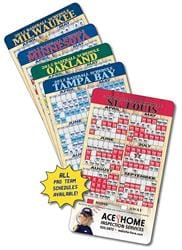 Laminated Sport Schedules - 4x7 Round Corners Card - Repositionable Sticky Back
