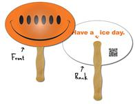 Hand Fan - Laminated 9.3125x6 Oval - 14 pt.