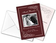Wedding Thank You Card Flat with Printed Envelopes - 3.5x5