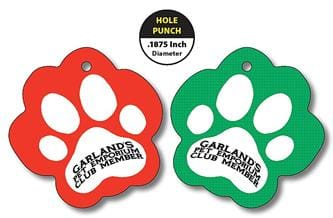 Plastic Key Tag - UV Coated - 2x2 Paw Shape (.1875 Inch Diameter Hole Punch)