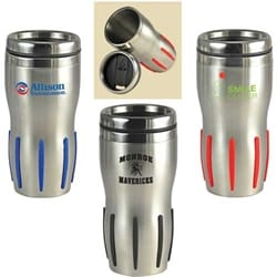 16 Oz Comfort Grip Stainless Steel Double-Wall Tumbler