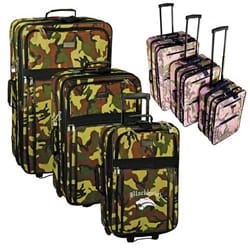 3-Piece Expandable Camo Rolling Luggage Set