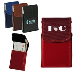 Business Card Case with Canvas and Shinny PVC Exterior
