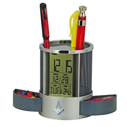 Multi-Function Metal Pen Holder with LCD Clock/Thermometer