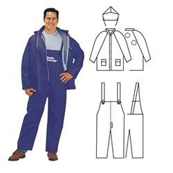 PVC/Polyester 3-Piece Blue Rainsuit