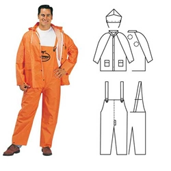 PVC/Polyester 3-Piece Orange Rainsuit