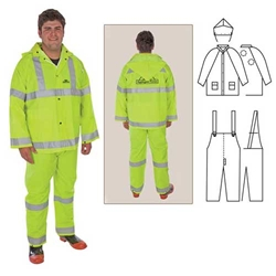 PVC/Polyester 3-Piece Rainsuit with Reflective Stripes