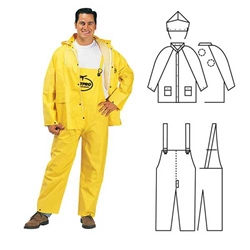 PVC/Polyester 3-Piece Yellow Rainsuit
